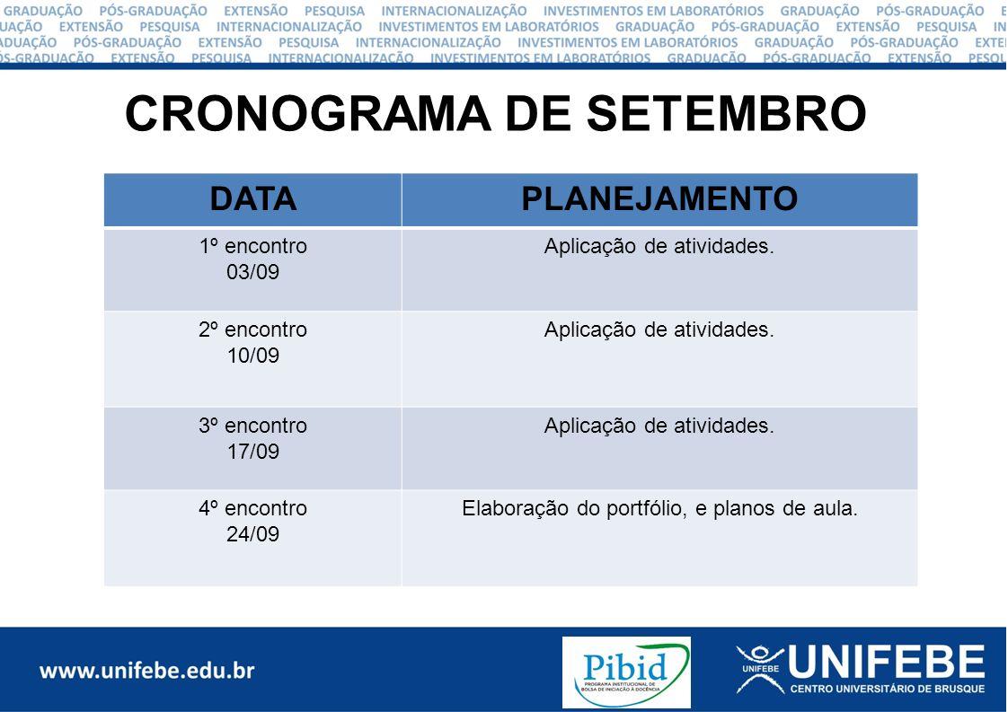 CRONOGRAMA DE SETEMBRO DATAPLANEJAMENTO 1º encontro 03/09 Aplicação de atividades.