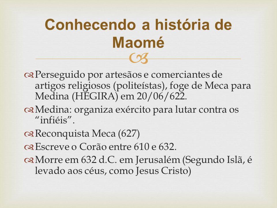   Perseguido por artesãos e comerciantes de artigos religiosos (politeístas), foge de Meca para Medina (HÉGIRA) em 20/06/622.  Medina: organiza exé
