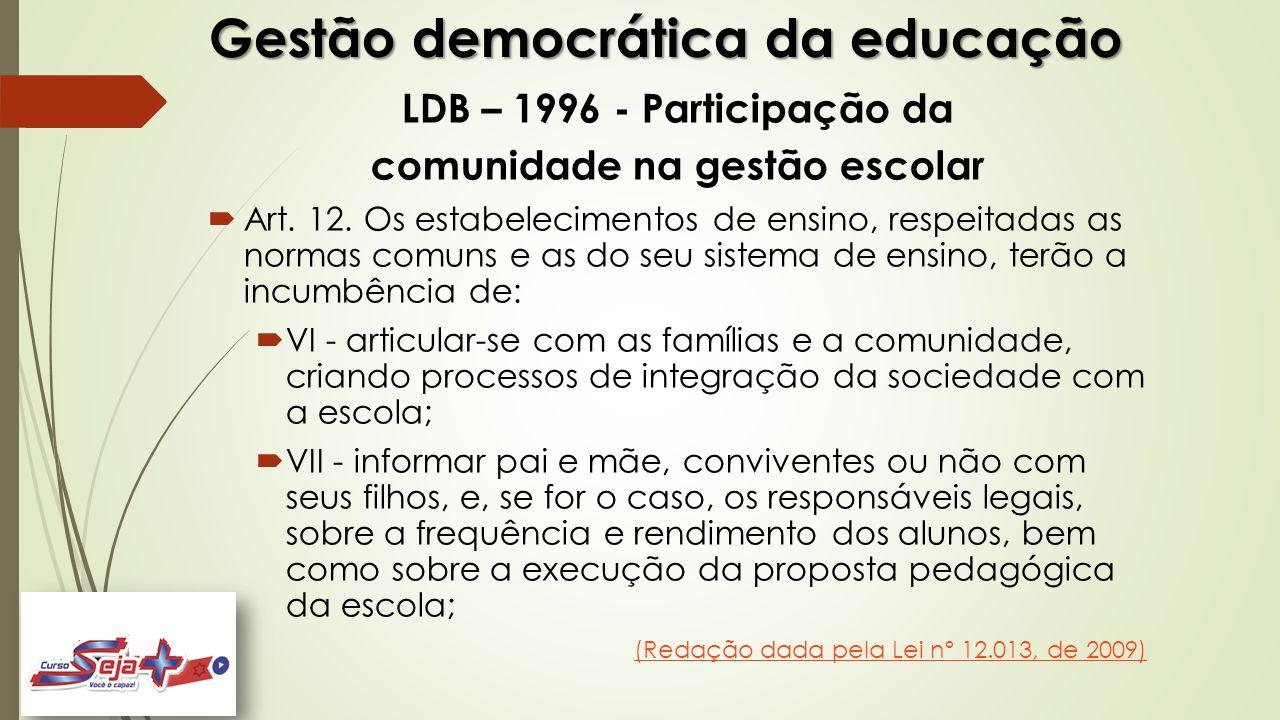 Gestão democrática da educação LDB – 1996 - Participação da comunidade na gestão escolar  Art. 12. Os estabelecimentos de ensino, respeitadas as norm