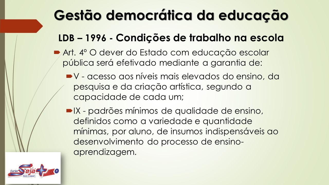 Gestão democrática da educação LDB – 1996 - Condições de trabalho na escola  Art. 4º O dever do Estado com educação escolar pública será efetivado me