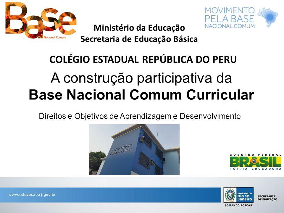A construção participativa da Base Nacional Comum Curricular Direitos e Objetivos de Aprendizagem e Desenvolvimento Ministério da Educação Secretaria
