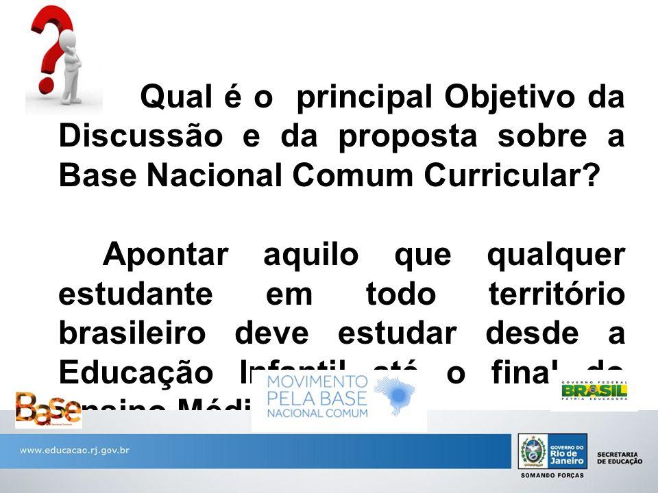 Qual é o principal Objetivo da Discussão e da proposta sobre a Base Nacional Comum Curricular? Apontar aquilo que qualquer estudante em todo territóri