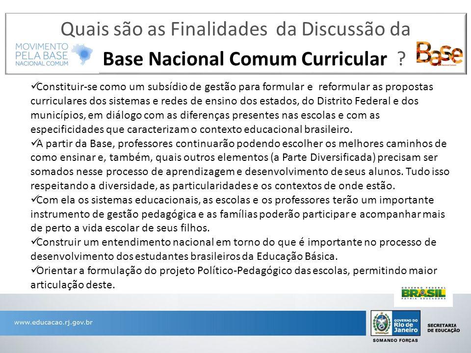 Quais são as Finalidades da Discussão da Base Nacional Comum Curricular ? Constituir-se como um subsídio de gestão para formular e reformular as propo