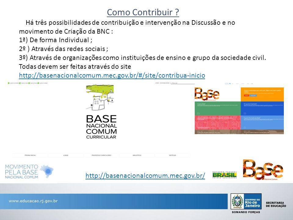Como Contribuir ? Há três possibilidades de contribuição e intervenção na Discussão e no movimento de Criação da BNC : 1ª) De forma Individual ; 2º )