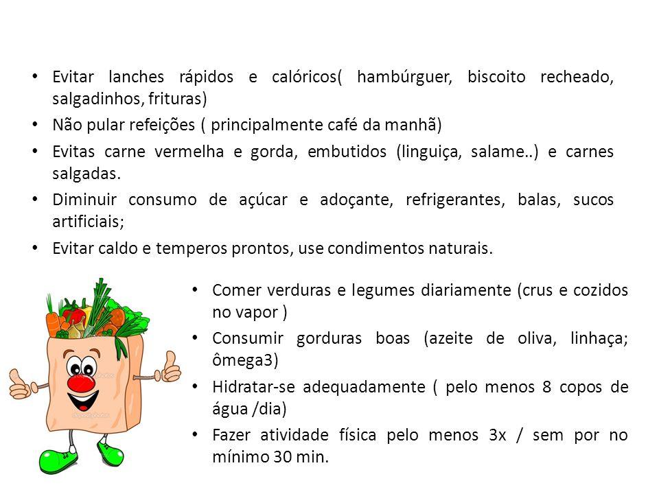 Evitar lanches rápidos e calóricos( hambúrguer, biscoito recheado, salgadinhos, frituras) Não pular refeições ( principalmente café da manhã) Evitas c