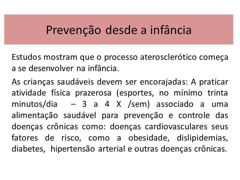 Prevenção desde a infância Estudos mostram que o processo aterosclerótico começa a se desenvolver na infância. As crianças saudáveis devem ser encoraj