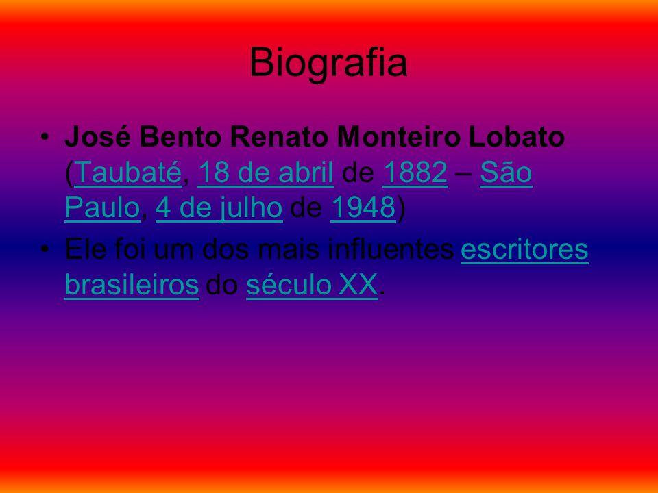 Biografia José Bento Renato Monteiro Lobato (Taubaté, 18 de abril de 1882 – São Paulo, 4 de julho de 1948)Taubaté18 de abril1882São Paulo4 de julho1948 Ele foi um dos mais influentes escritores brasileiros do século XX.escritores brasileirosséculo XX