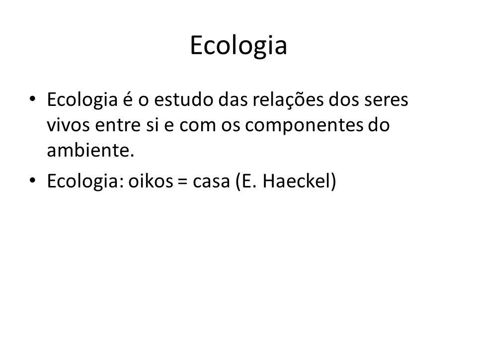 Ecologia Ecologia é o estudo das relações dos seres vivos entre si e com os componentes do ambiente. Ecologia: oikos = casa (E. Haeckel)