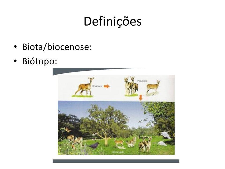 Definições Biota/biocenose: Biótopo:
