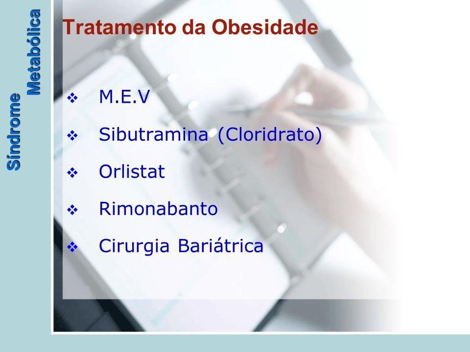 Síndrome Metabólica Tratamento da Obesidade  M.E.V  Sibutramina (Cloridrato)  Orlistat  Rimonabanto  Cirurgia Bariátrica