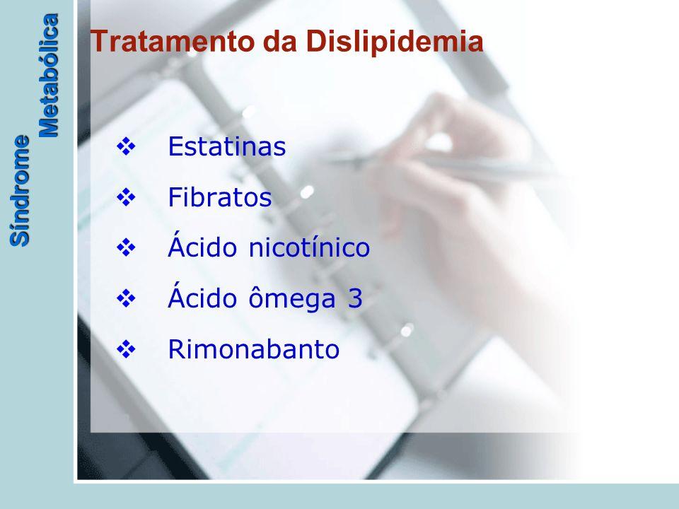 Síndrome Metabólica Tratamento da Dislipidemia  Estatinas  Fibratos  Ácido nicotínico  Ácido ômega 3  Rimonabanto