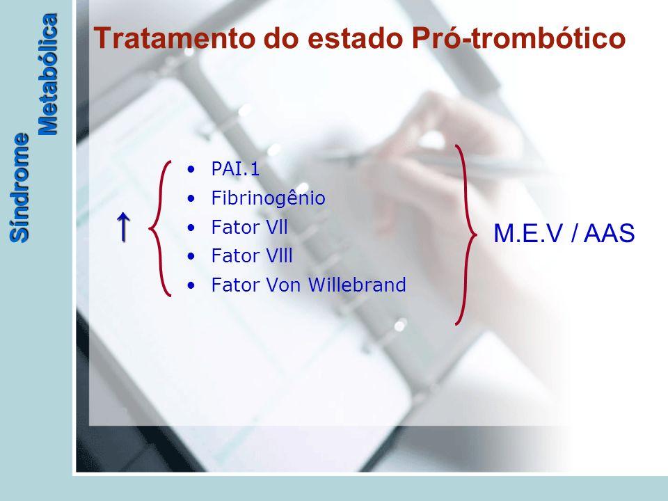 Síndrome Metabólica Tratamento do estado Pró-trombótico PAI.1 Fibrinogênio Fator Vll Fator Vlll Fator Von Willebrand M.E.V / AAS ↑