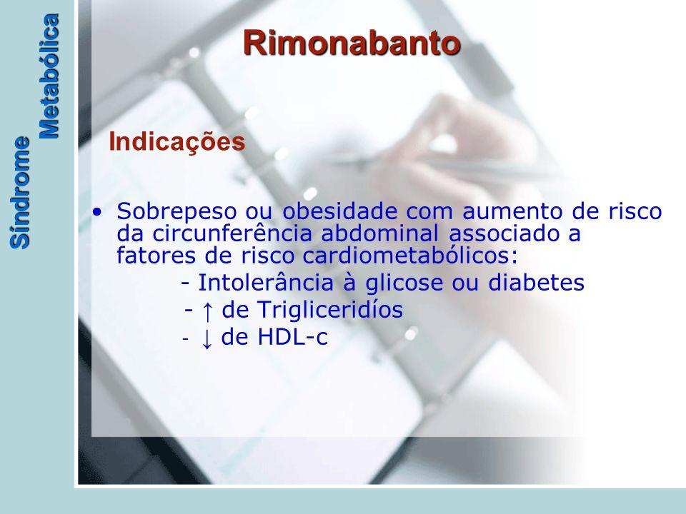 Síndrome Metabólica Rimonabanto Sobrepeso ou obesidade com aumento de risco da circunferência abdominal associado a fatores de risco cardiometabólicos