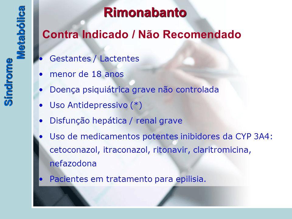Síndrome Metabólica Rimonabanto Rimonabanto Contra Indicado / Não Recomendado Gestantes / Lactentes menor de 18 anos Doença psiquiátrica grave não controlada Uso Antidepressivo (*) Disfunção hepática / renal grave Uso de medicamentos potentes inibidores da CYP 3A4: cetoconazol, itraconazol, ritonavir, claritromicina, nefazodona Pacientes em tratamento para epilisia.