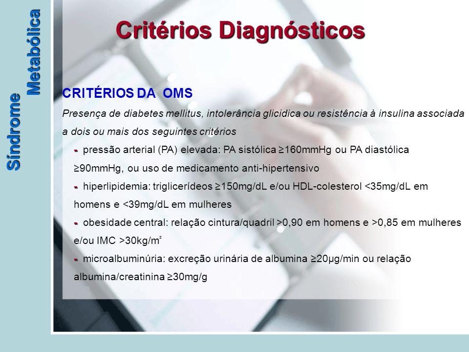 - - - - CRITÉRIOS DA OMS Presença de diabetes mellitus, intolerância glicidica ou resistência à insulina associada a dois ou mais dos seguintes critérios - pressão arterial (PA) elevada: PA sistólica ≥160mmHg ou PA diastólica ≥90mmHg, ou uso de medicamento anti-hipertensivo - hiperlipidemia: triglicerídeos ≥150mg/dL e/ou HDL-colesterol 0,90 em homens e >0,85 em mulheres e/ou IMC >30kg/m ² - microalbuminúria: excreção urinária de albumina ≥20µg/min ou relação albumina/creatinina ≥30mg/g Critérios Diagnósticos