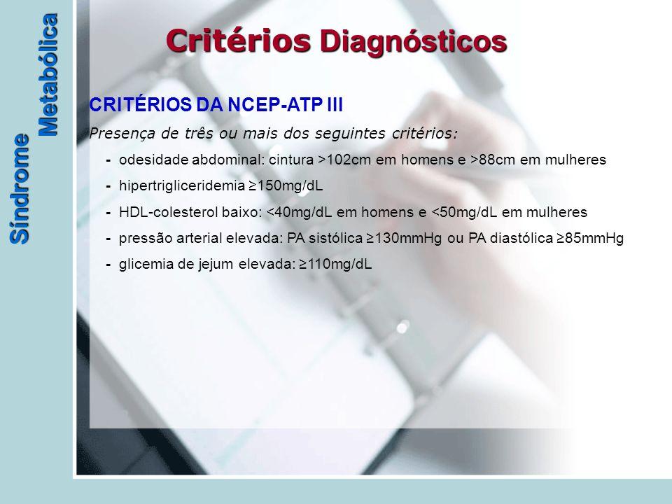 Síndrome Metabólica Critérios Diagnósticos - - - - - CRITÉRIOS DA NCEP-ATP III Presença de três ou mais dos seguintes critérios: - odesidade abdominal: cintura >102cm em homens e >88cm em mulheres - hipertrigliceridemia ≥150mg/dL - HDL-colesterol baixo: <40mg/dL em homens e <50mg/dL em mulheres - pressão arterial elevada: PA sistólica ≥130mmHg ou PA diastólica ≥85mmHg - glicemia de jejum elevada: ≥110mg/dL