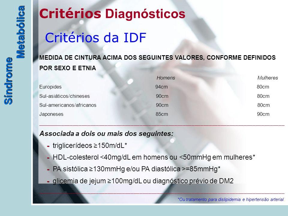 Síndrome Metabólica Critérios D iagnósticos Critérios da IDF - - - - MEDIDA DE CINTURA ACIMA DOS SEGUINTES VALORES, CONFORME DEFINIDOS POR SEXO E ETNI