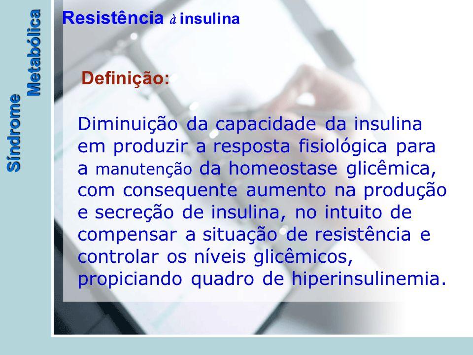 Síndrome Metabólica Resistência à insulina Definição: Diminuição da capacidade da insulina em produzir a resposta fisiológica para a manutenção da homeostase glicêmica, com consequente aumento na produção e secreção de insulina, no intuito de compensar a situação de resistência e controlar os níveis glicêmicos, propiciando quadro de hiperinsulinemia.