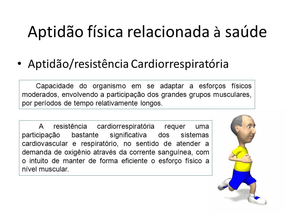 Aptidão/resistência Cardiorrespiratória Capacidade do organismo em se adaptar a esforços físicos moderados, envolvendo a participação dos grandes grup