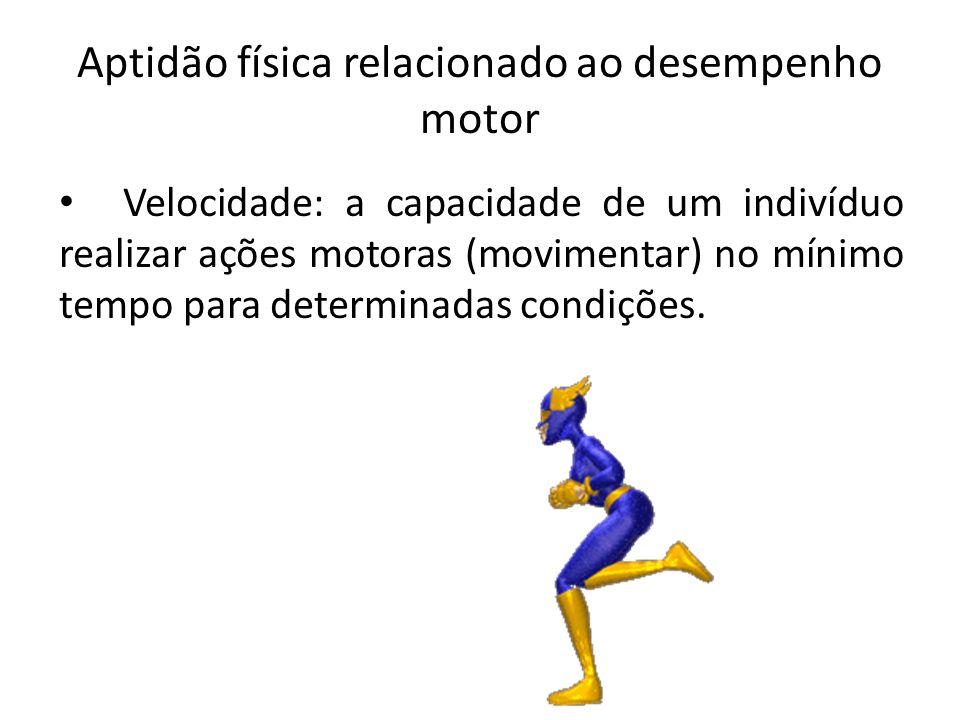 Aptidão física relacionado ao desempenho motor Velocidade: a capacidade de um indivíduo realizar ações motoras (movimentar) no mínimo tempo para deter