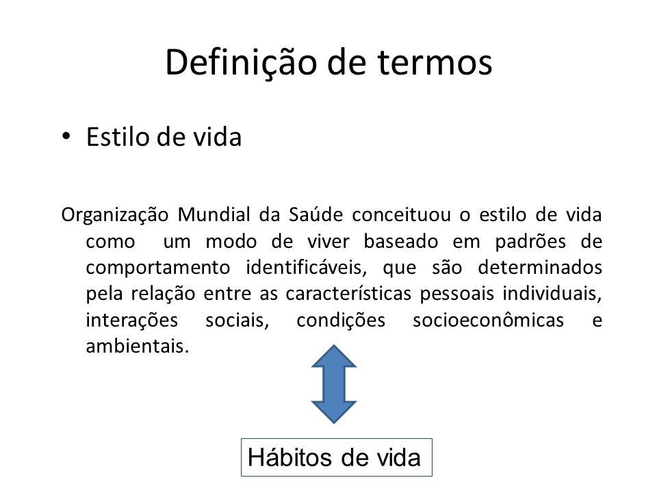 Definição de termos Estilo de vida Organização Mundial da Saúde conceituou o estilo de vida como um modo de viver baseado em padrões de comportamento