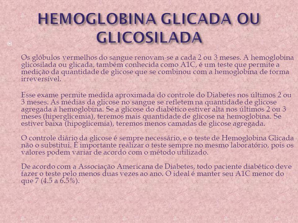  Os glóbulos vermelhos do sangue renovam-se a cada 2 ou 3 meses. A hemoglobina glicosilada ou glicada, também conhecida como A1C, é um teste que perm