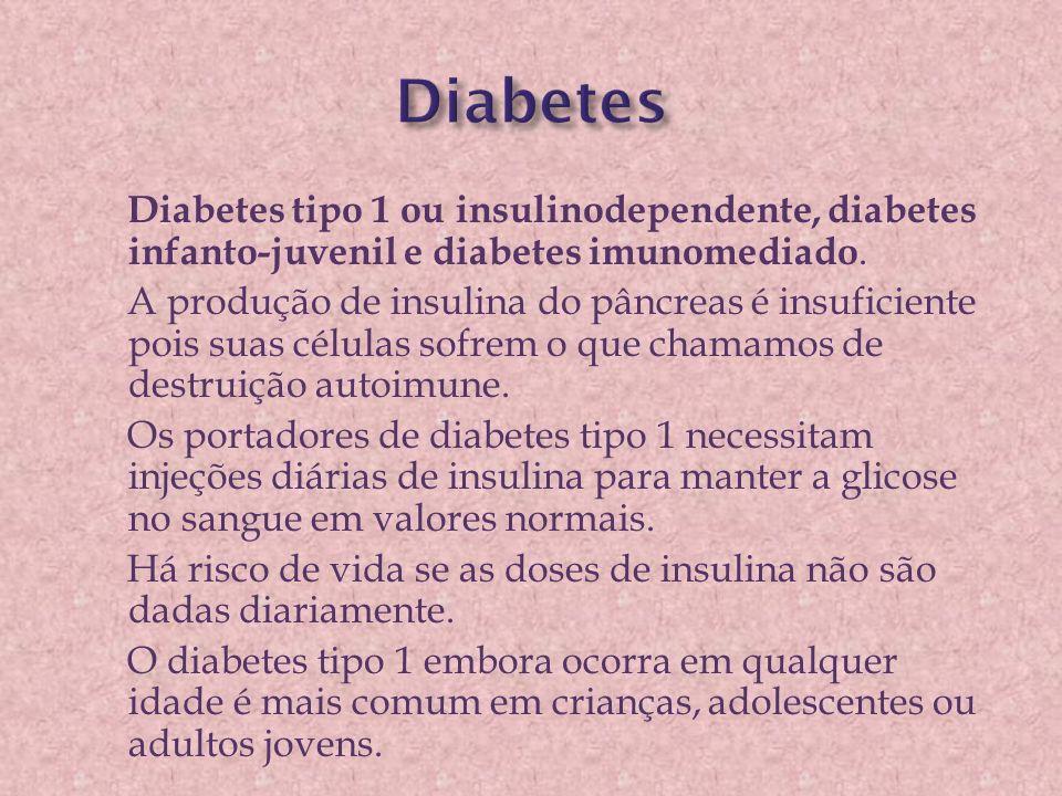 Diabetes tipo 1 ou insulinodependente, diabetes infanto-juvenil e diabetes imunomediado. A produção de insulina do pâncreas é insuficiente pois suas c