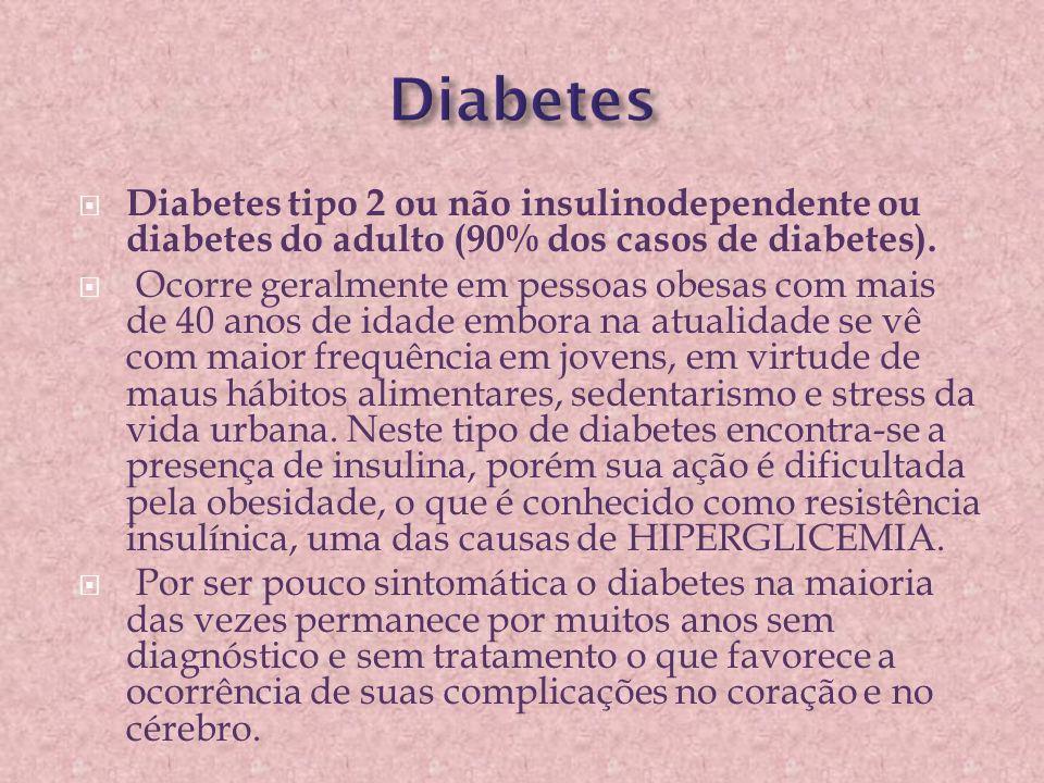  Diabetes tipo 2 ou não insulinodependente ou diabetes do adulto (90% dos casos de diabetes).  Ocorre geralmente em pessoas obesas com mais de 40 an