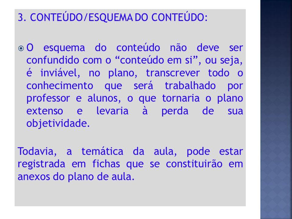 """3. CONTEÚDO/ESQUEMA DO CONTEÚDO:  O esquema do conteúdo não deve ser confundido com o """"conteúdo em si"""", ou seja, é inviável, no plano, transcrever to"""