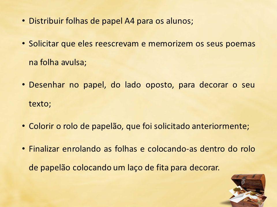 Distribuir folhas de papel A4 para os alunos; Solicitar que eles reescrevam e memorizem os seus poemas na folha avulsa; Desenhar no papel, do lado opo
