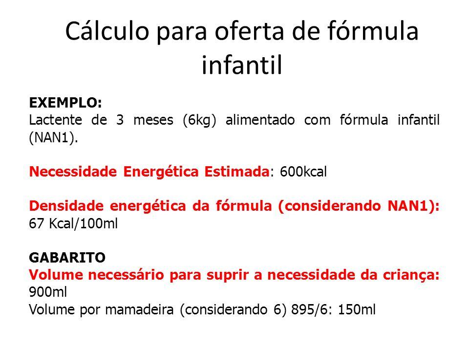 Cálculo para oferta de fórmula infantil EXEMPLO: Lactente de 3 meses (6kg) alimentado com fórmula infantil (NAN1).
