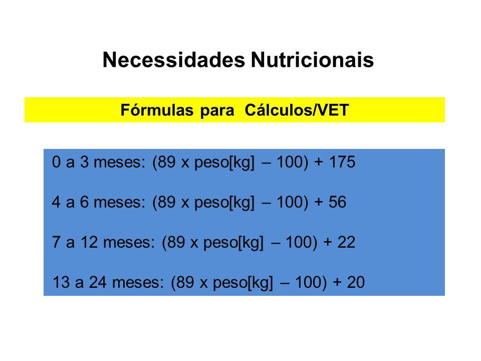 Necessidades Nutricionais 0 a 3 meses: (89 x peso[kg] – 100) + 175 4 a 6 meses: (89 x peso[kg] – 100) + 56 7 a 12 meses: (89 x peso[kg] – 100) + 22 13 a 24 meses: (89 x peso[kg] – 100) + 20 Fórmulas para Cálculos/VET