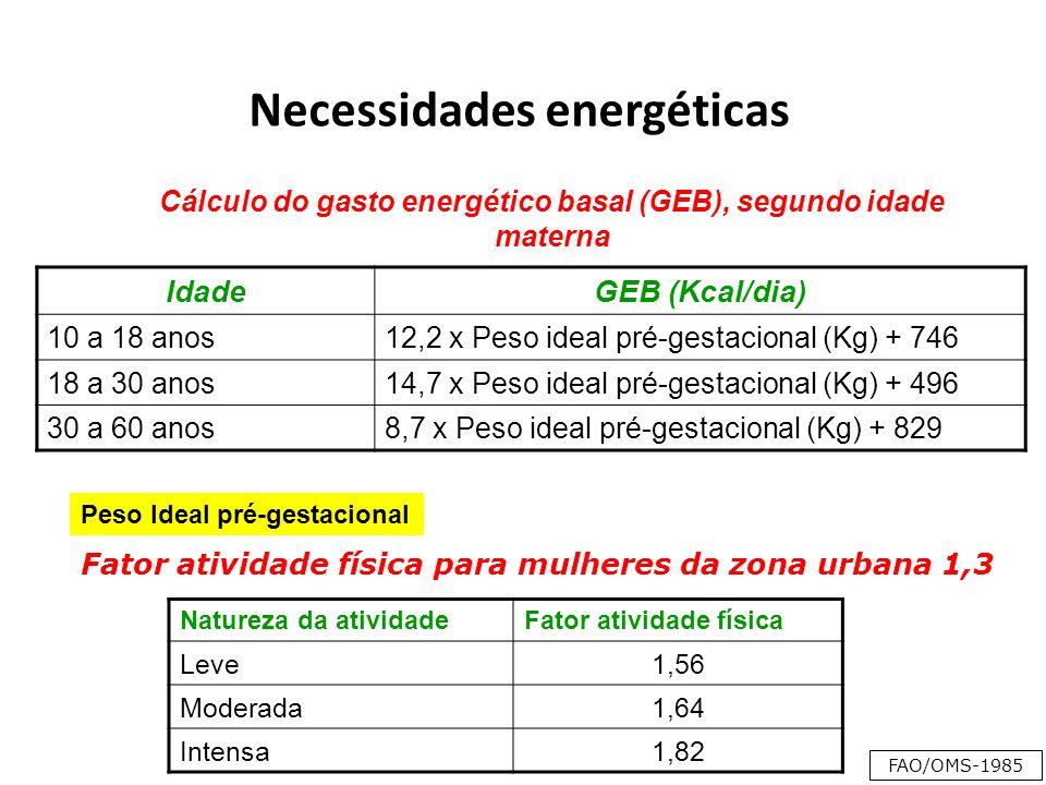 Necessidades energéticas IdadeGEB (Kcal/dia) 10 a 18 anos12,2 x Peso ideal pré-gestacional (Kg) + 746 18 a 30 anos14,7 x Peso ideal pré-gestacional (Kg) + 496 30 a 60 anos8,7 x Peso ideal pré-gestacional (Kg) + 829 Cálculo do gasto energético basal (GEB), segundo idade materna Natureza da atividadeFator atividade física Leve1,56 Moderada1,64 Intensa1,82 Fator atividade física para mulheres da zona urbana 1,3 FAO/OMS-1985 Peso Ideal pré-gestacional