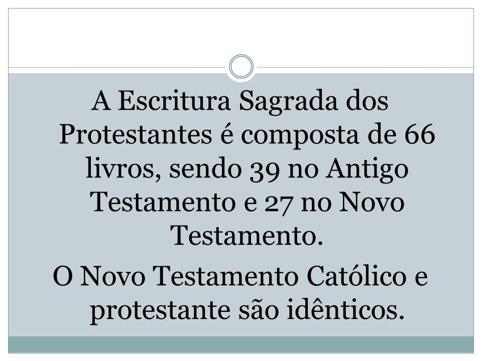 A Escritura Sagrada dos Protestantes é composta de 66 livros, sendo 39 no Antigo Testamento e 27 no Novo Testamento.