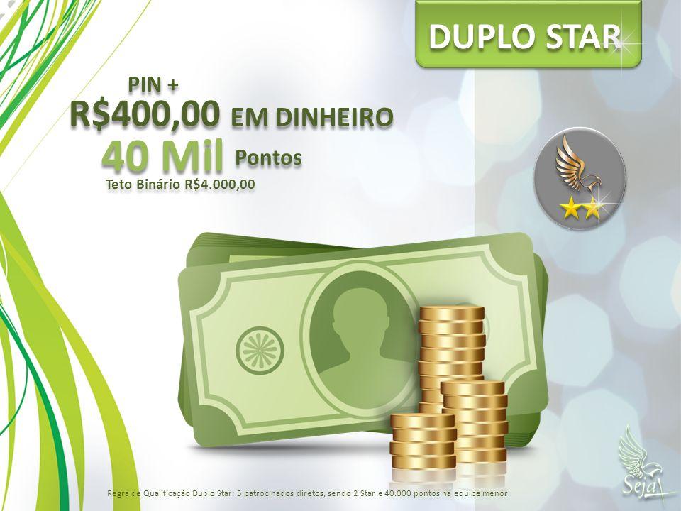DUPLO STAR 40 Mil Pontos Teto Binário R$4.000,00 PIN + R$400,00 EM DINHEIRO Regra de Qualificação Duplo Star: 5 patrocinados diretos, sendo 2 Star e 4