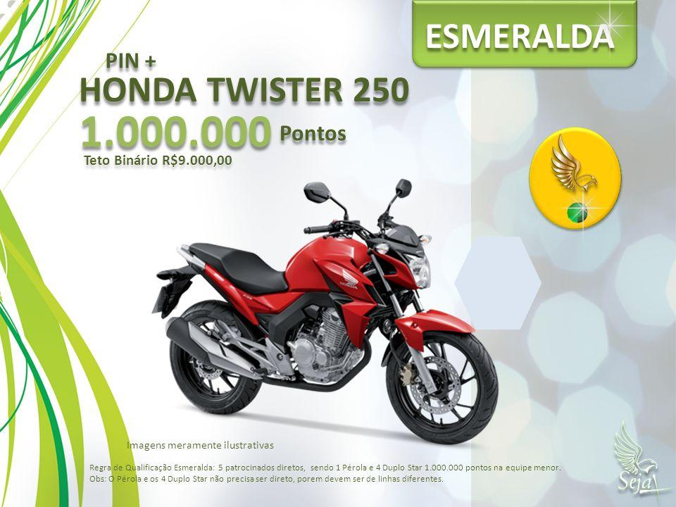 ESMERALDA HONDA TWISTER 250 1.000.000 Pontos Teto Binário R$9.000,00 PIN + Regra de Qualificação Esmeralda: 5 patrocinados diretos, sendo 1 Pérola e 4