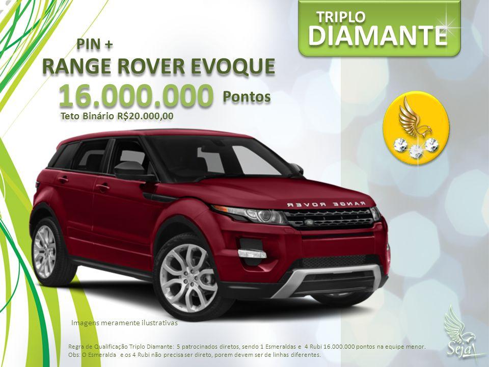 DIAMANTE TRIPLO RANGE ROVER EVOQUE 16.000.000 Pontos Teto Binário R$20.000,00 PIN + Regra de Qualificação Triplo Diamante: 5 patrocinados diretos, sen