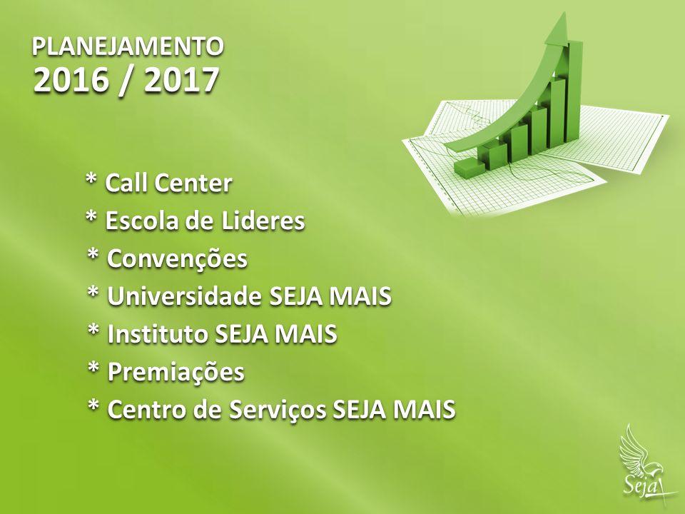 PLANEJAMENTO 2016 / 2017 * Call Center * Escola de Lideres * Convenções * Universidade SEJA MAIS * Instituto SEJA MAIS * Premiações * Centro de Serviç