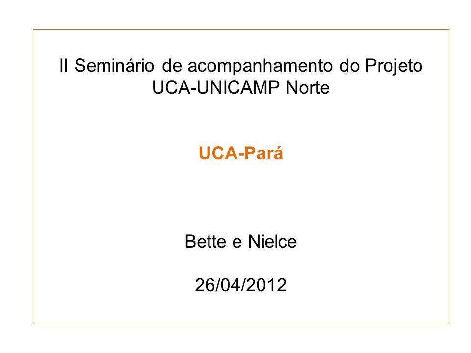 II Seminário de acompanhamento do Projeto UCA-UNICAMP Norte UCA-Pará Bette e Nielce 26/04/2012