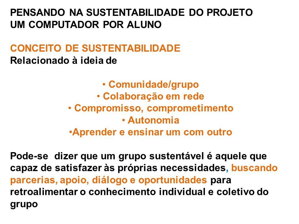 PENSANDO NA SUSTENTABILIDADE DO PROJETO UM COMPUTADOR POR ALUNO CONCEITO DE SUSTENTABILIDADE Relacionado à ideia de Comunidade/grupo Colaboração em rede Compromisso, comprometimento Autonomia Aprender e ensinar um com outro Pode-se dizer que um grupo sustentável é aquele que capaz de satisfazer às próprias necessidades, buscando parcerias, apoio, diálogo e oportunidades para retroalimentar o conhecimento individual e coletivo do grupo