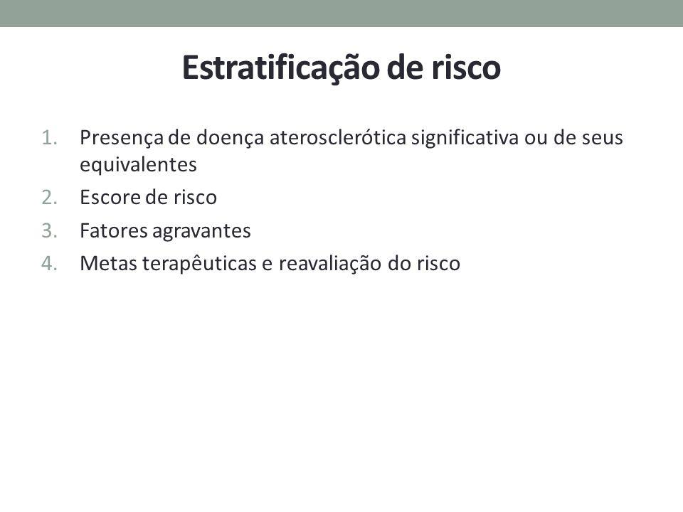 Estratificação de risco 1.Presença de doença aterosclerótica significativa ou de seus equivalentes 2.Escore de risco 3.Fatores agravantes 4.Metas tera