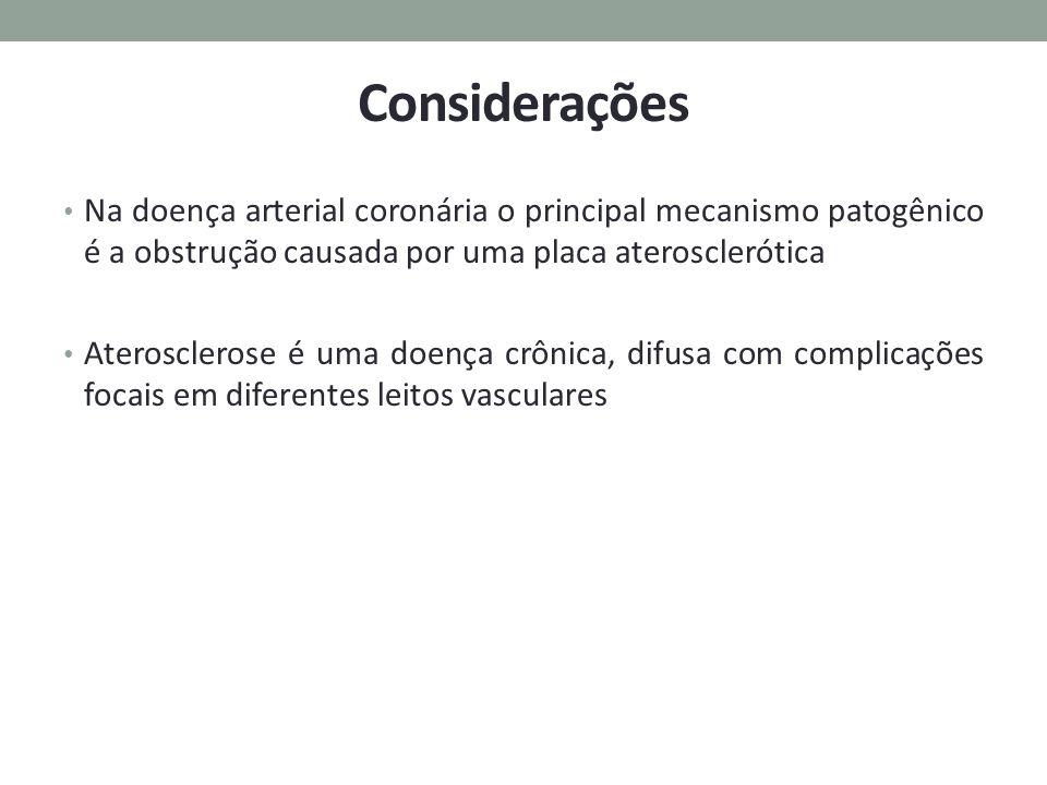 Considerações Na doença arterial coronária o principal mecanismo patogênico é a obstrução causada por uma placa aterosclerótica Aterosclerose é uma do