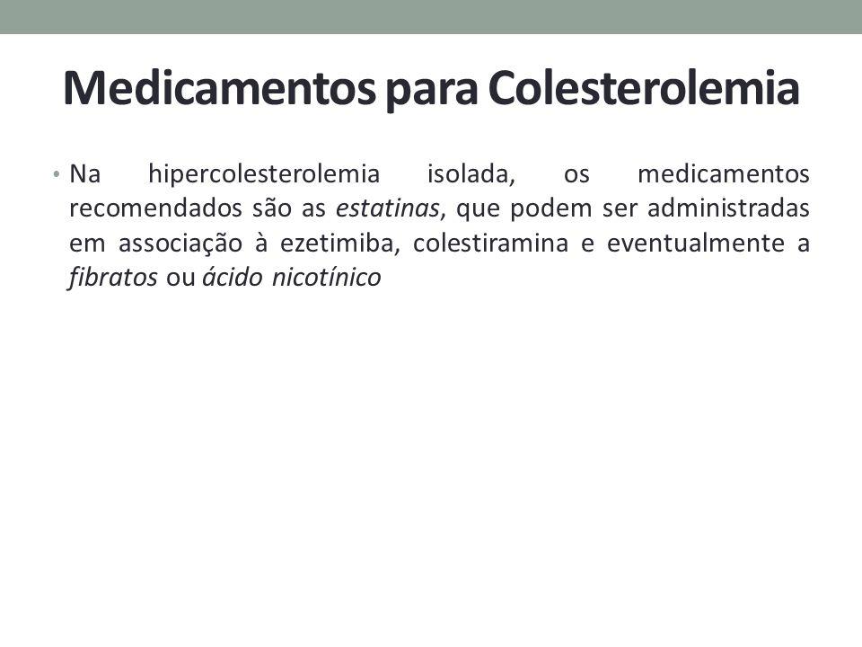 Medicamentos para Colesterolemia Na hipercolesterolemia isolada, os medicamentos recomendados são as estatinas, que podem ser administradas em associa