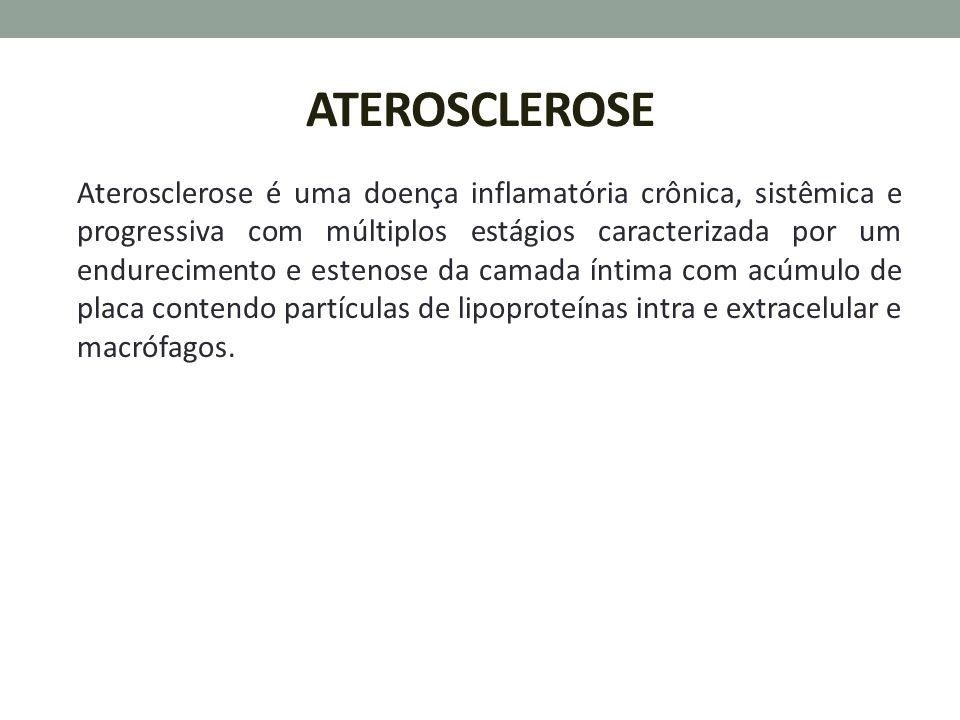 ATEROSCLEROSE Aterosclerose é uma doença inflamatória crônica, sistêmica e progressiva com múltiplos estágios caracterizada por um endurecimento e est