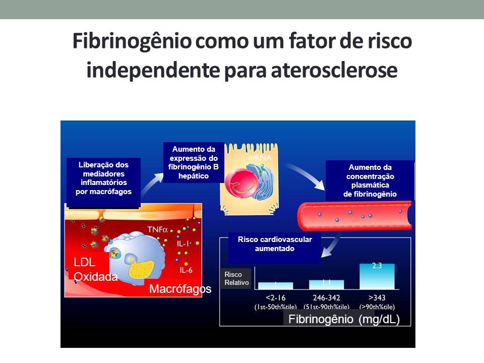 Fibrinogênio como um fator de risco independente para aterosclerose Liberação dos mediadores inflamatórios por macrófagos Aumento da expressão do fibr