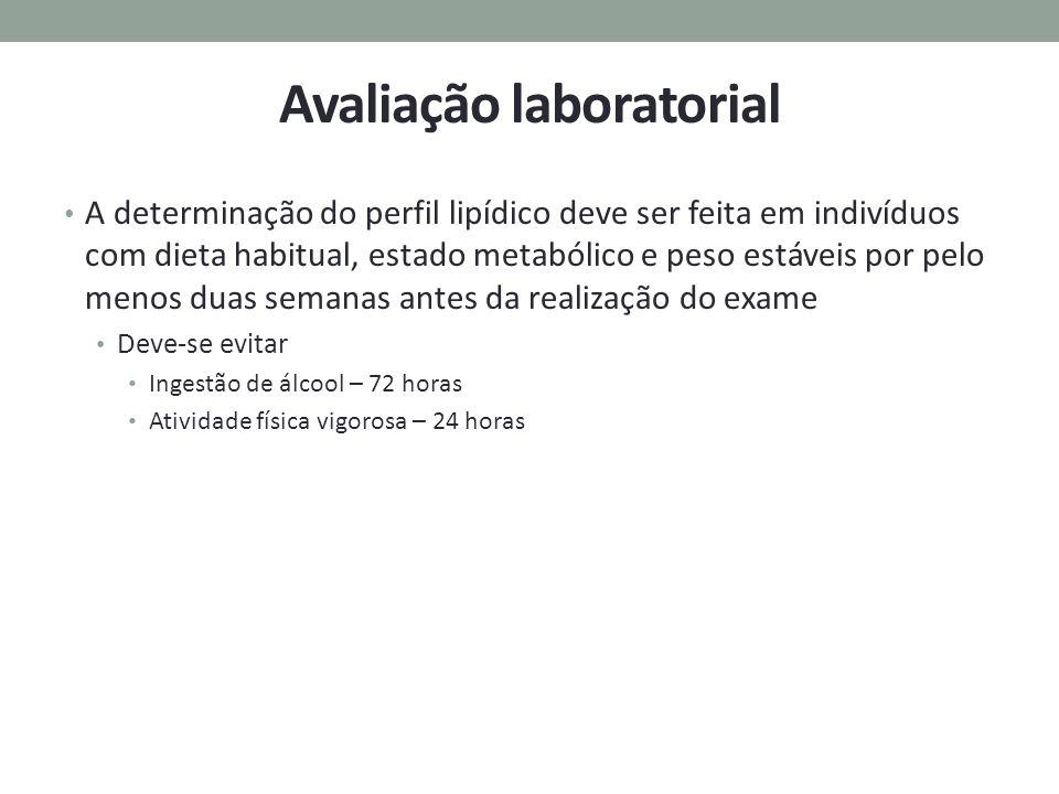Avaliação laboratorial A determinação do perfil lipídico deve ser feita em indivíduos com dieta habitual, estado metabólico e peso estáveis por pelo m