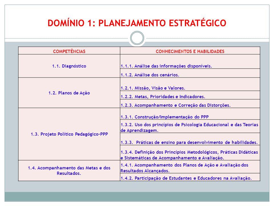 DOMÍNIO 1: PLANEJAMENTO ESTRATÉGICO COMPETÊNCIASCONHECIMENTOS E HABILIDADES 1.1. Diagnóstico 1.1.1. Análise das informações disponíveis. 1.1.2. Anális