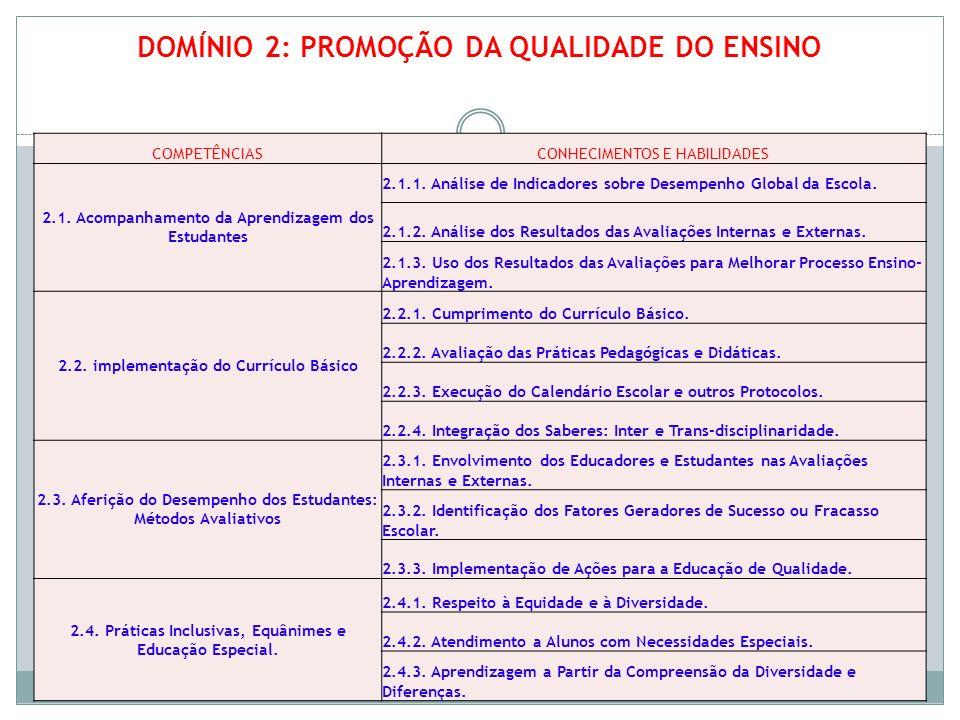 DOMÍNIO 2: PROMOÇÃO DA QUALIDADE DO ENSINO COMPETÊNCIASCONHECIMENTOS E HABILIDADES 2.1. Acompanhamento da Aprendizagem dos Estudantes 2.1.1. Análise d