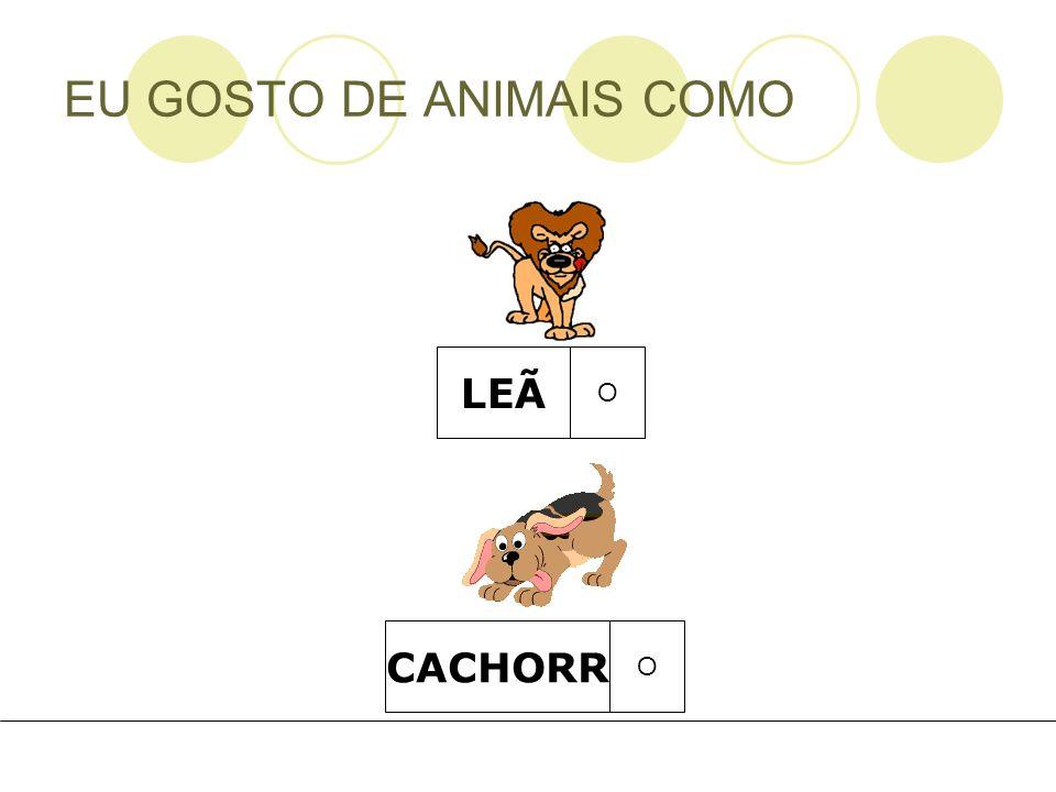EU GOSTO DE ANIMAIS COMO LEÃ O CACHORR O