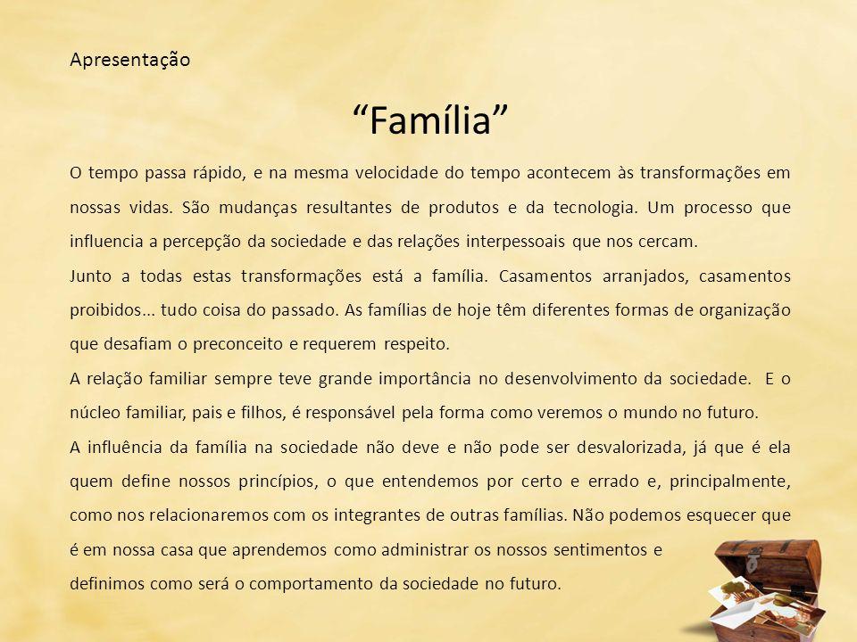 Apresentação Família O tempo passa rápido, e na mesma velocidade do tempo acontecem às transformações em nossas vidas.